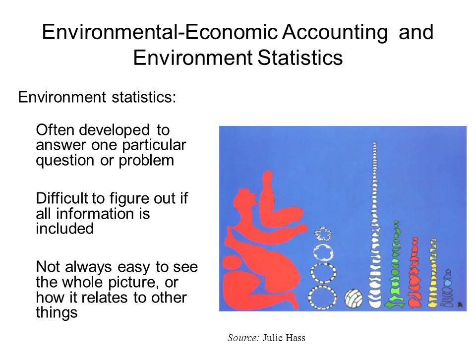 Environmental-Economic Accounting and Environment Statistics Environment statistics: Often developed to answer one particular question or problem Difficult to figure out if all information is included Not always easy to see the whole picture, or how it relates to other things Source: Julie Hass