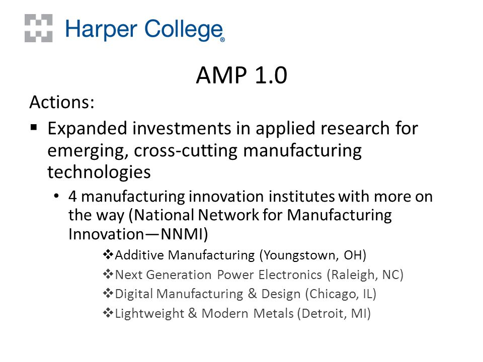 AMP 1.0 Actions:  Expanded investments in applied research for emerging, cross-cutting manufacturing technologies 4 manufacturing innovation institutes with more on the way (National Network for Manufacturing Innovation—NNMI)  Additive Manufacturing (Youngstown, OH)  Next Generation Power Electronics (Raleigh, NC)  Digital Manufacturing & Design (Chicago, IL)  Lightweight & Modern Metals (Detroit, MI)