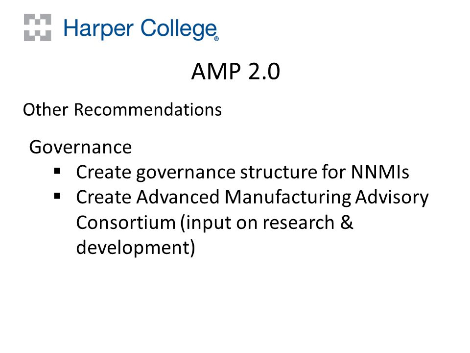 AMP 2.0 Other Recommendations Governance  Create governance structure for NNMIs  Create Advanced Manufacturing Advisory Consortium (input on research & development)