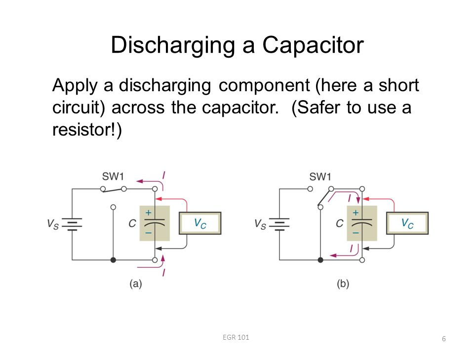 Discharging a Capacitor EGR 101 6 Apply a discharging component (here a short circuit) across the capacitor.