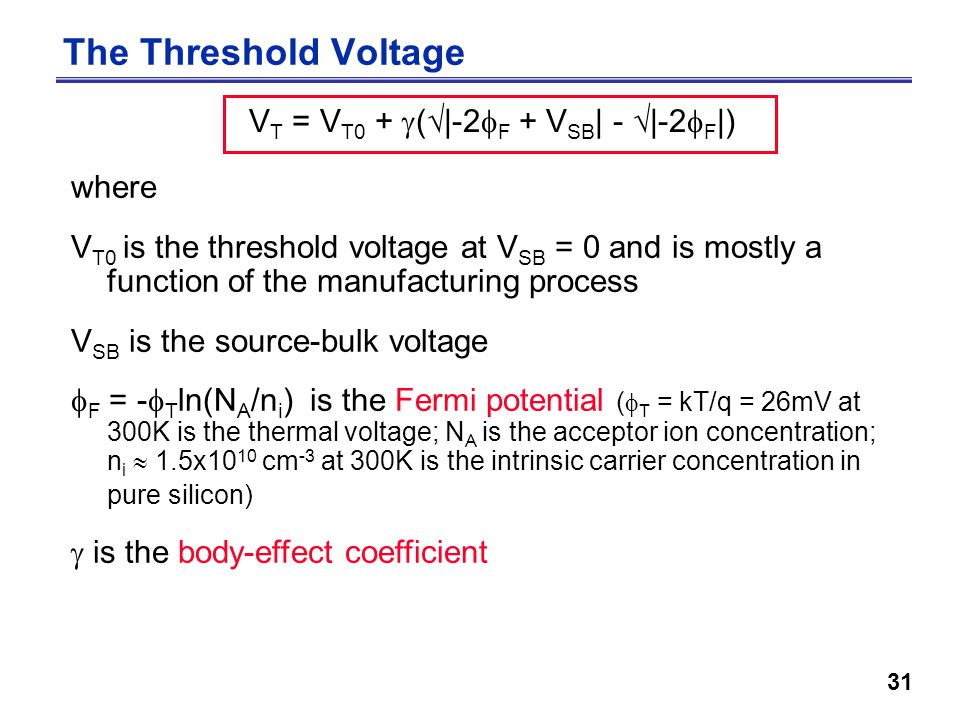 31 The Threshold Voltage V T = V T0 +  (  |-2  F + V SB | -  |-2  F |) where V T0 is the threshold voltage at V SB = 0 and is mostly a function of the manufacturing process V SB is the source-bulk voltage  F = -  T ln(N A /n i ) is the Fermi potential (  T = kT/q = 26mV at 300K is the thermal voltage; N A is the acceptor ion concentration; n i  1.5x10 10 cm -3 at 300K is the intrinsic carrier concentration in pure silicon)  is the body-effect coefficient