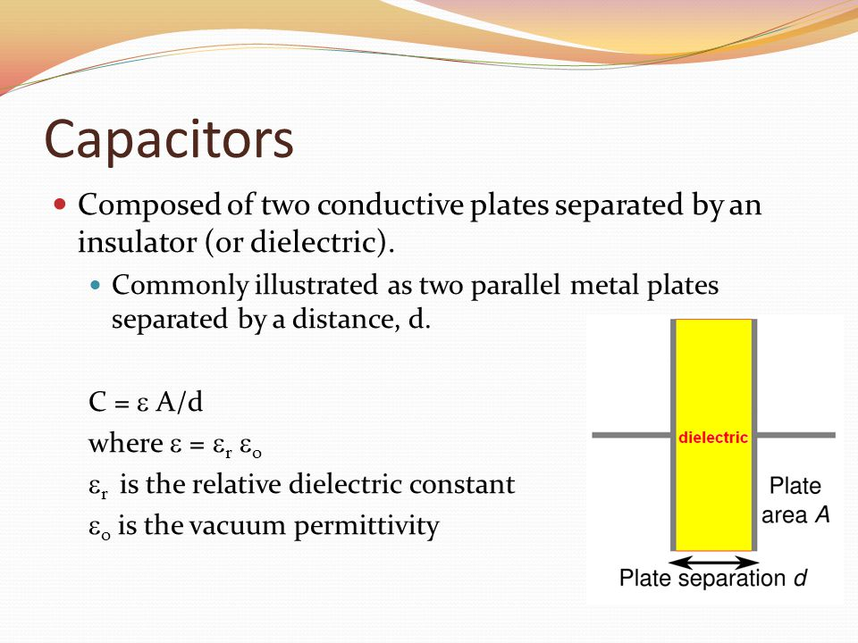 Capacitors Composed of two conductive plates separated by an insulator (or dielectric).