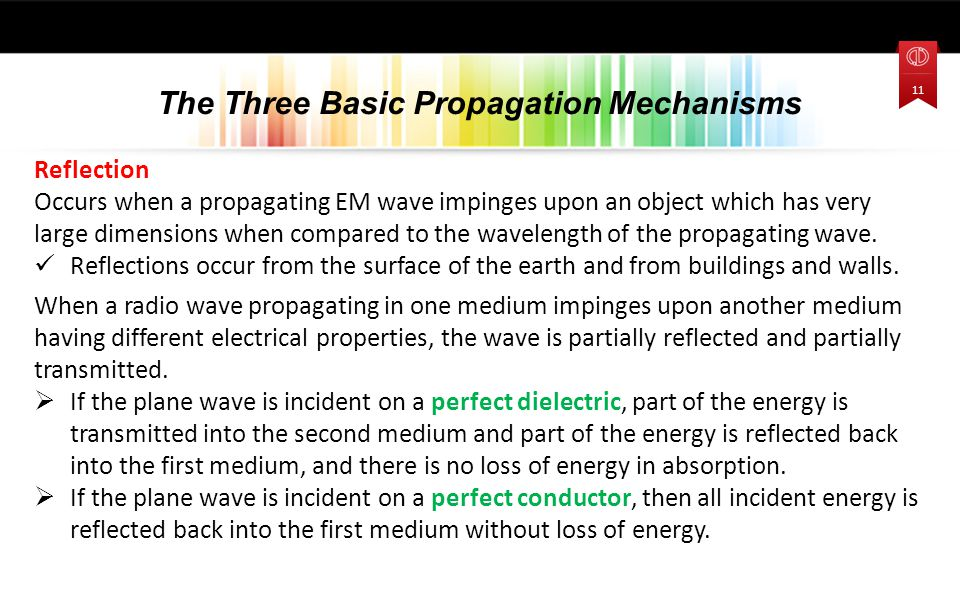 Reflection Occurs when a propagating EM wave impinges upon an object which has very large dimensions when compared to the wavelength of the propagating wave.