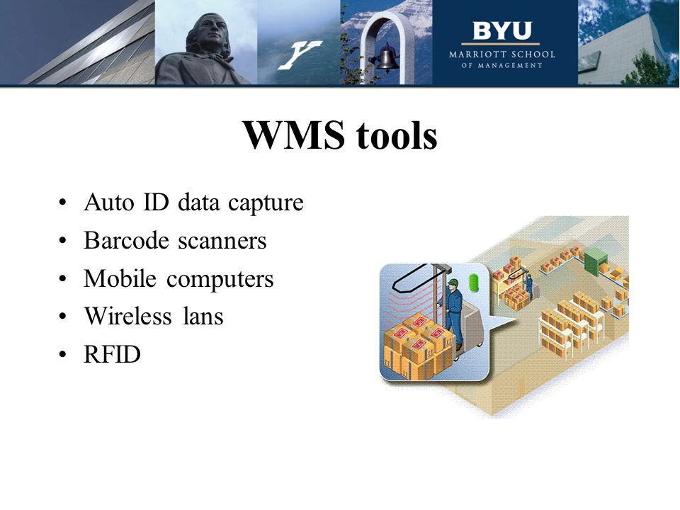 WMS tools Auto ID data capture Barcode scanners Mobile computers Wireless lans RFID