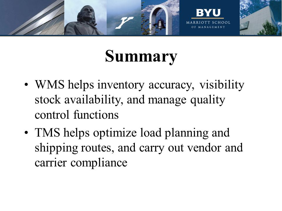 Summary WMS helps inventory accuracy, visibility stock availability, and manage quality control functions TMS helps optimize load planning and shipping routes, and carry out vendor and carrier compliance