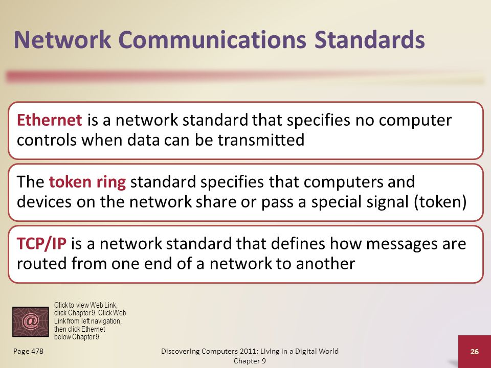 Network Communications Standards Ethernet is a network standard that specifies no computer controls when data can be transmitted The token ring standard specifies that computers and devices on the network share or pass a special signal (token) TCP/IP is a network standard that defines how messages are routed from one end of a network to another Discovering Computers 2011: Living in a Digital World Chapter 9 26 Page 478 Click to view Web Link, click Chapter 9, Click Web Link from left navigation, then click Ethernet below Chapter 9
