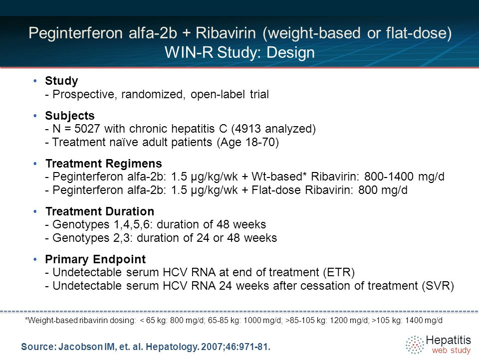 Hepatitis web study *Weight-based ribavirin dosing: kg: 1200 mg/d; >105 kg: 1400 mg/d Peginterferon alfa-2b + Ribavirin (weight-based or flat-dose) WIN-R Study: Design Study - Prospective, randomized, open-label trial Subjects - N = 5027 with chronic hepatitis C (4913 analyzed) - Treatment naïve adult patients (Age 18-70) Treatment Regimens - Peginterferon alfa-2b: 1.5 µg/kg/wk + Wt-based* Ribavirin: mg/d - Peginterferon alfa-2b: 1.5 µg/kg/wk + Flat-dose Ribavirin: 800 mg/d Treatment Duration - Genotypes 1,4,5,6: duration of 48 weeks - Genotypes 2,3: duration of 24 or 48 weeks Primary Endpoint - Undetectable serum HCV RNA at end of treatment (ETR) - Undetectable serum HCV RNA 24 weeks after cessation of treatment (SVR) Source: Jacobson IM, et.
