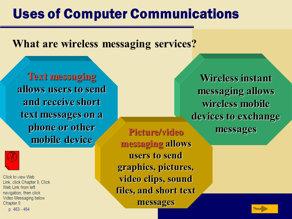 Uses of Computer Communications What are wireless messaging services.