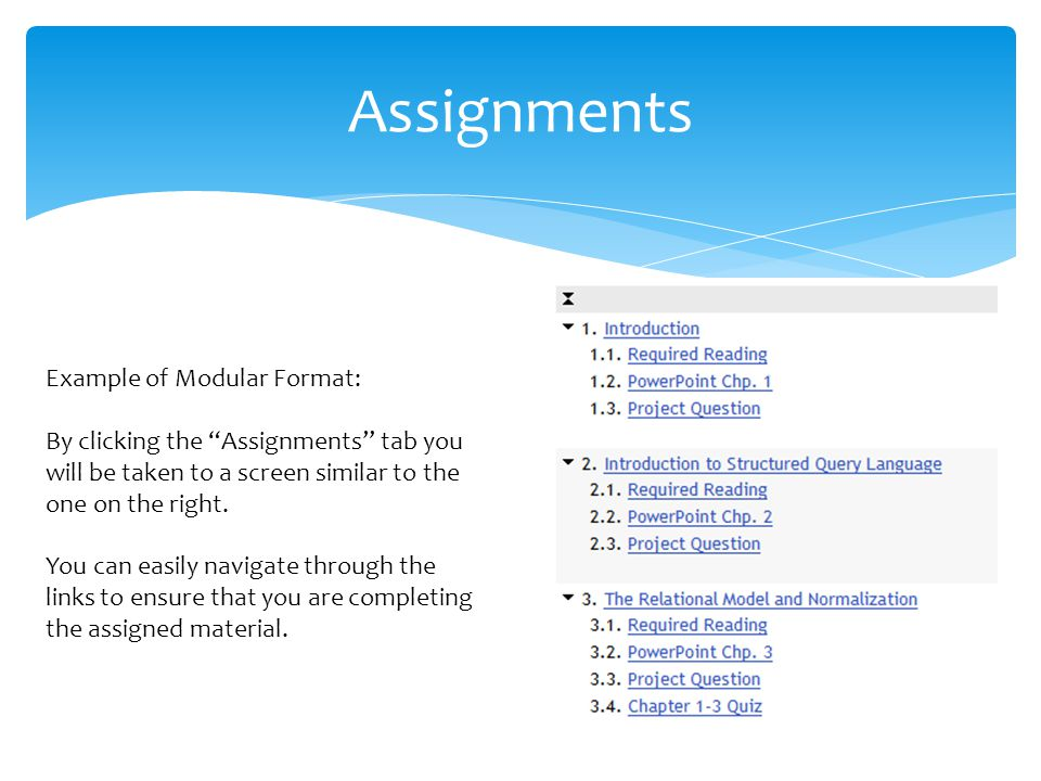 Example of Modular Format: By clicking the Assignments tab you will be taken to a screen similar to the one on the right.