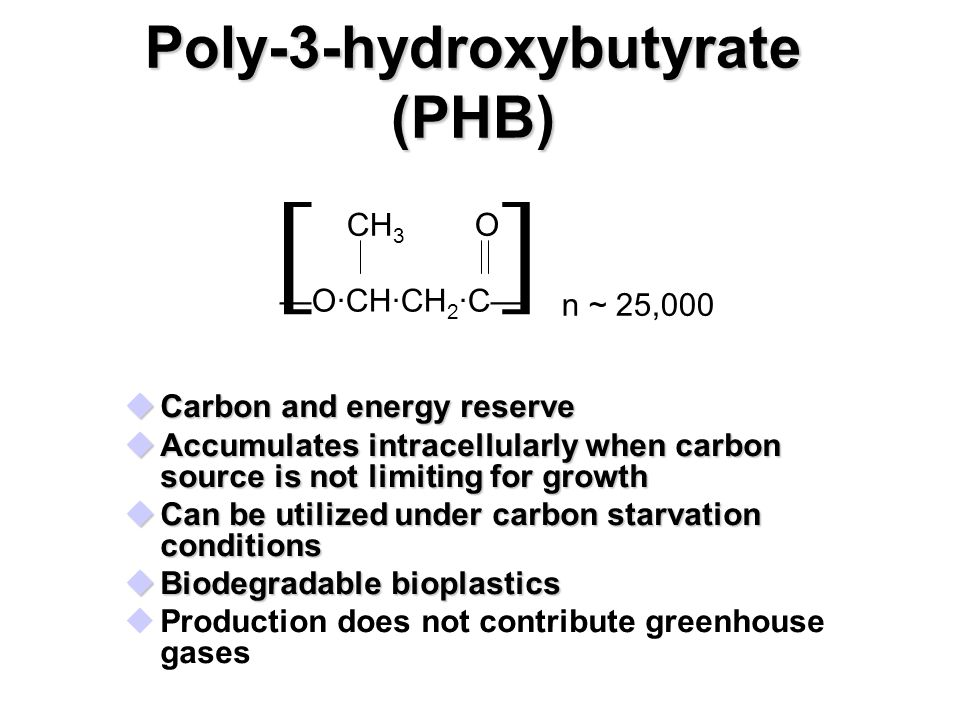 Poly-3-hydroxybutyrate (PHB) uCarbon and energy reserve uAccumulates intracellularly when carbon source is not limiting for growth uCan be utilized under carbon starvation conditions uBiodegradable bioplastics uProduction does not contribute greenhouse gases CH 3 —O·CH·CH 2 ·C— O [] n ~ 25,000
