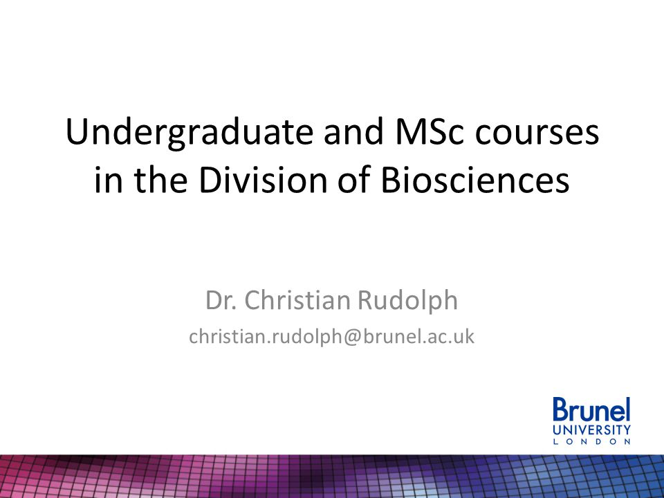 Undergraduate and MSc courses in the Division of Biosciences Dr.