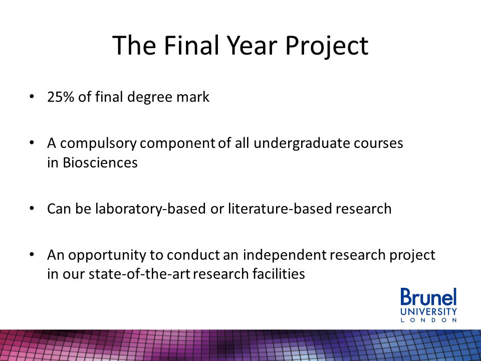 The Final Year Project 25% of final degree mark A compulsory component of all undergraduate courses in Biosciences Can be laboratory-based or literature-based research An opportunity to conduct an independent research project in our state-of-the-art research facilities