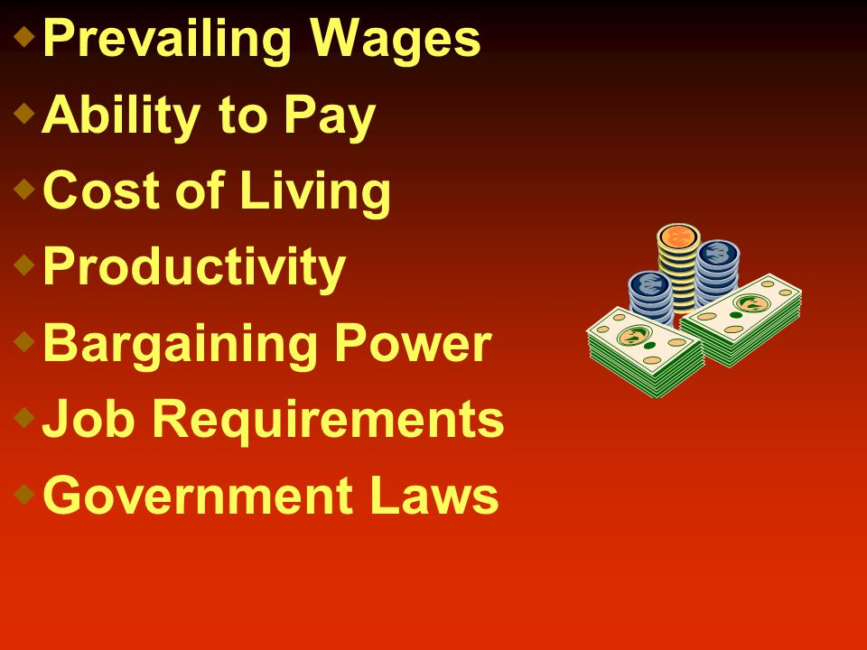  Prevailing Wages  Ability to Pay  Cost of Living  Productivity  Bargaining Power  Job Requirements  Government Laws