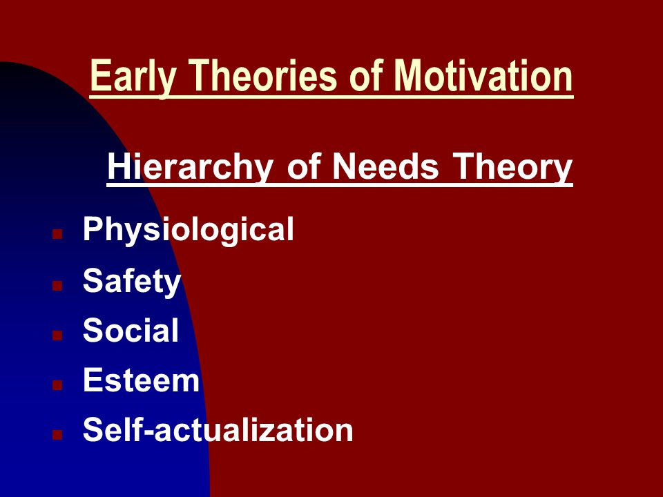 14 Early Theories of Motivation Hierarchy of Needs Theory n Physiological n Safety n Social n Esteem n Self-actualization