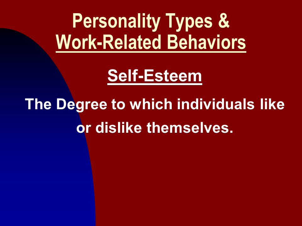 8 Personality Types & Work-Related Behaviors Self-Esteem The Degree to which individuals like or dislike themselves.