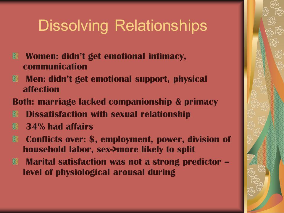 Dissolving Relationships Women: didn't get emotional intimacy, communication Men: didn't get emotional support, physical affection Both: marriage lacked companionship & primacy Dissatisfaction with sexual relationship 34% had affairs Conflicts over: $, employment, power, division of household labor, sex->more likely to split Marital satisfaction was not a strong predictor – level of physiological arousal during