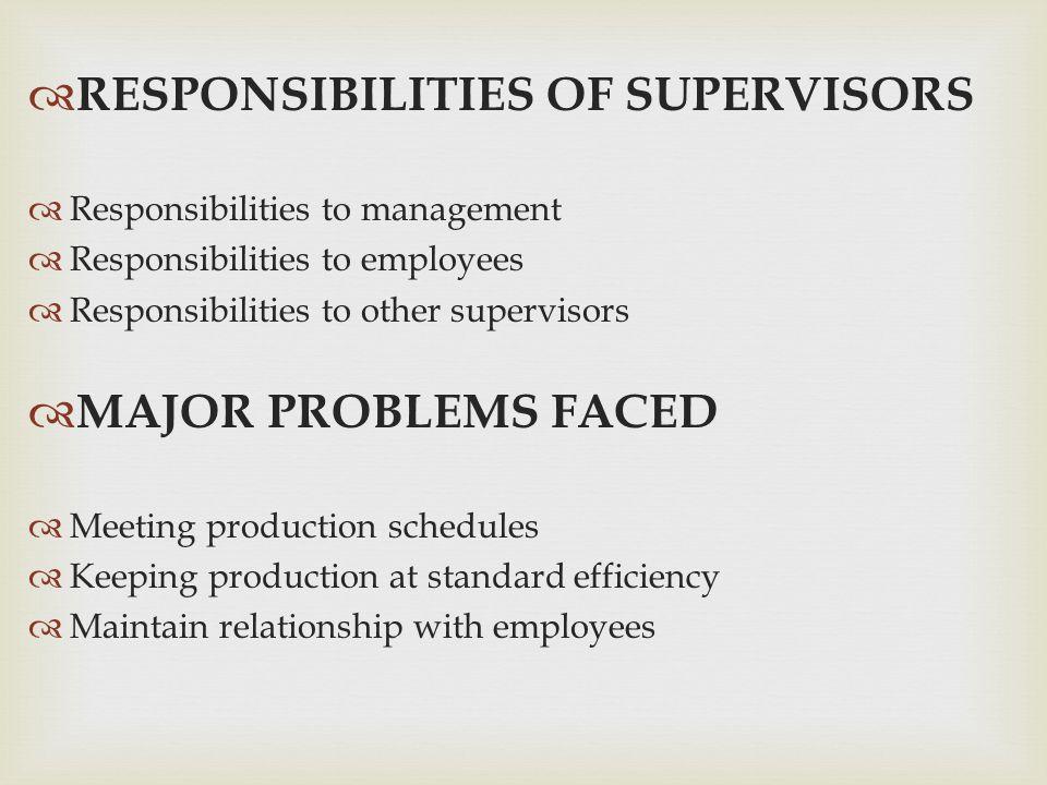  RESPONSIBILITIES OF SUPERVISORS  Responsibilities to management  Responsibilities to employees  Responsibilities to other supervisors  MAJOR PRO