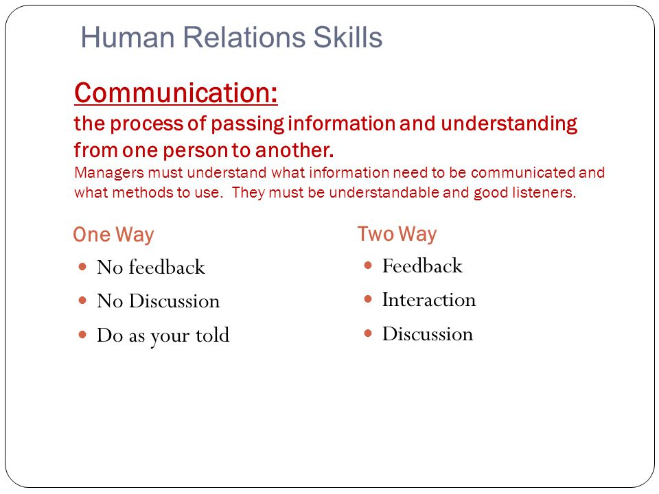 Communication: the process of passing information and understanding from one person to another. Managers must understand what information need to be c