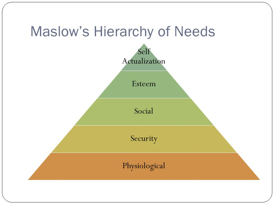 Maslow's Hierarchy of Needs Self Actualization Esteem Social Security Physiological