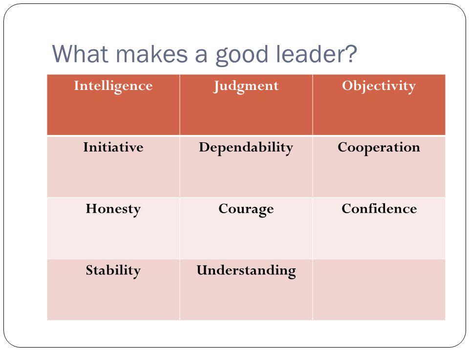 What makes a good leader? IntelligenceJudgmentObjectivity InitiativeDependabilityCooperation HonestyCourageConfidence StabilityUnderstanding