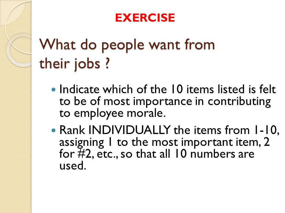 What do people want from their jobs .
