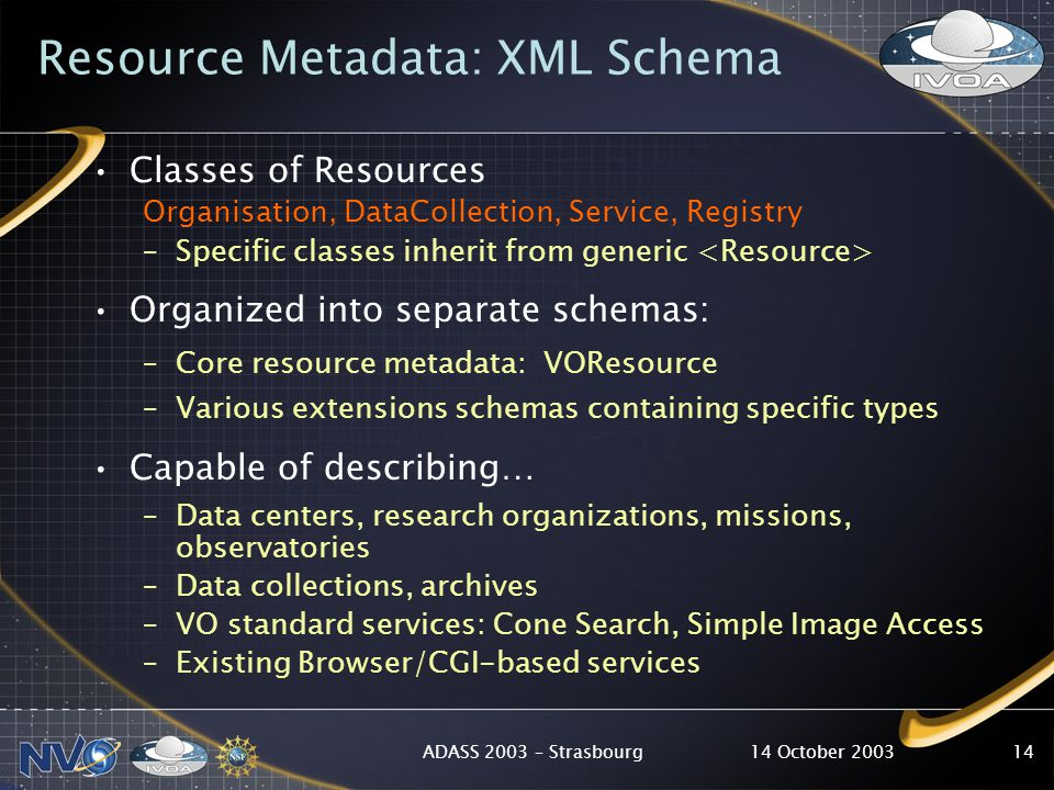 14 October 2003ADASS 2003 – Strasbourg14 Resource Metadata: XML Schema Classes of Resources Organisation, DataCollection, Service, Registry –Specific classes inherit from generic Organized into separate schemas: –Core resource metadata: VOResource –Various extensions schemas containing specific types Capable of describing… –Data centers, research organizations, missions, observatories –Data collections, archives –VO standard services: Cone Search, Simple Image Access –Existing Browser/CGI-based services