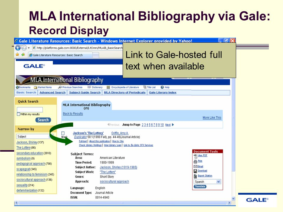 Link to Gale-hosted full text when available MLA International Bibliography via Gale: Record Display