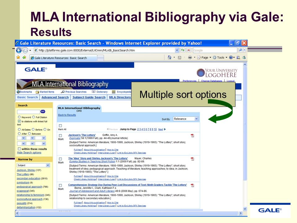 MLA International Bibliography via Gale: Results Multiple sort options
