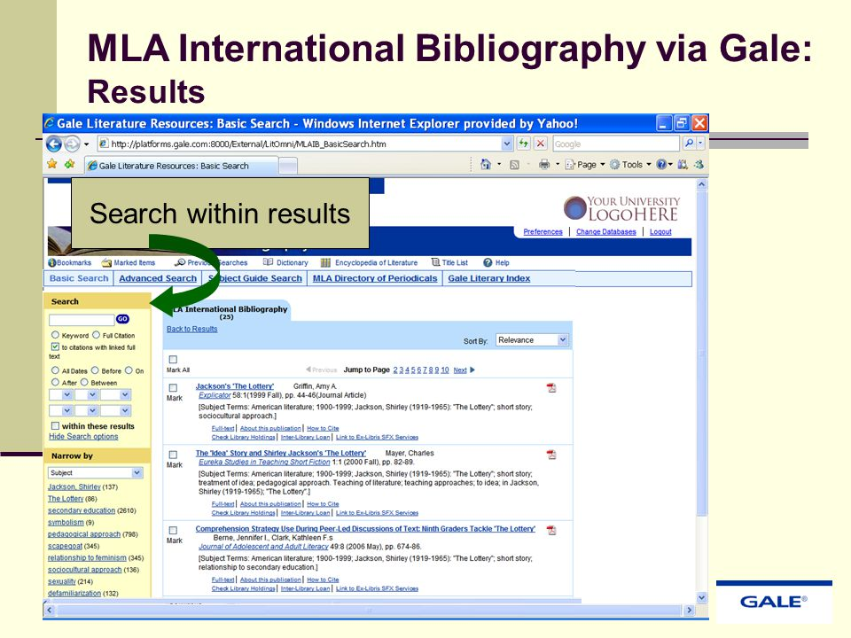 MLA International Bibliography via Gale: Results Search within results