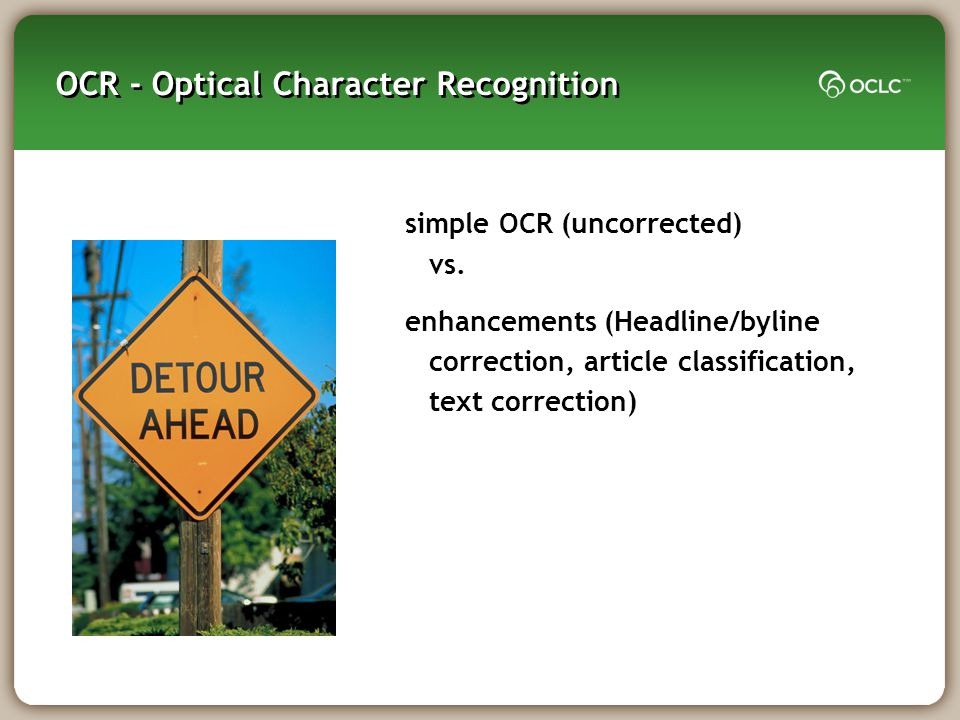 OCR - Optical Character Recognition simple OCR (uncorrected) vs.
