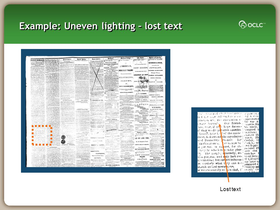 Lost text Example: Uneven lighting – lost text