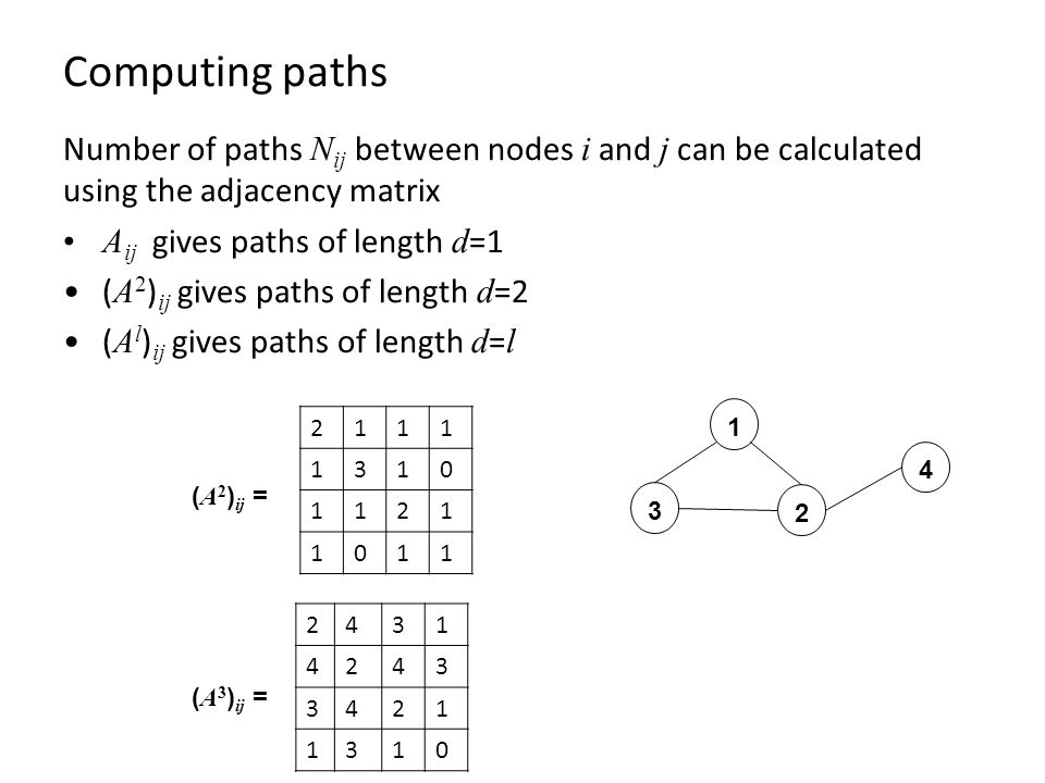 Computing paths Number of paths N ij between nodes i and j can be calculated using the adjacency matrix A ij gives paths of length d =1 ( A 2 ) ij gives paths of length d =2 ( A l ) ij gives paths of length d = l ( A 2 ) ij = ( A 3 ) ij =