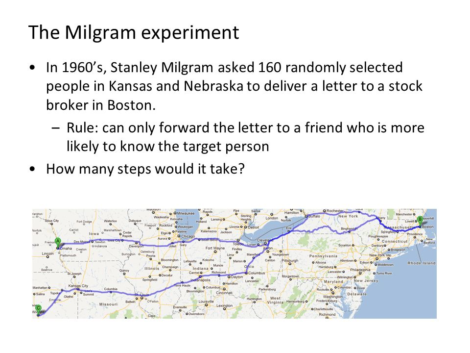 The Milgram experiment In 1960's, Stanley Milgram asked 160 randomly selected people in Kansas and Nebraska to deliver a letter to a stock broker in Boston.