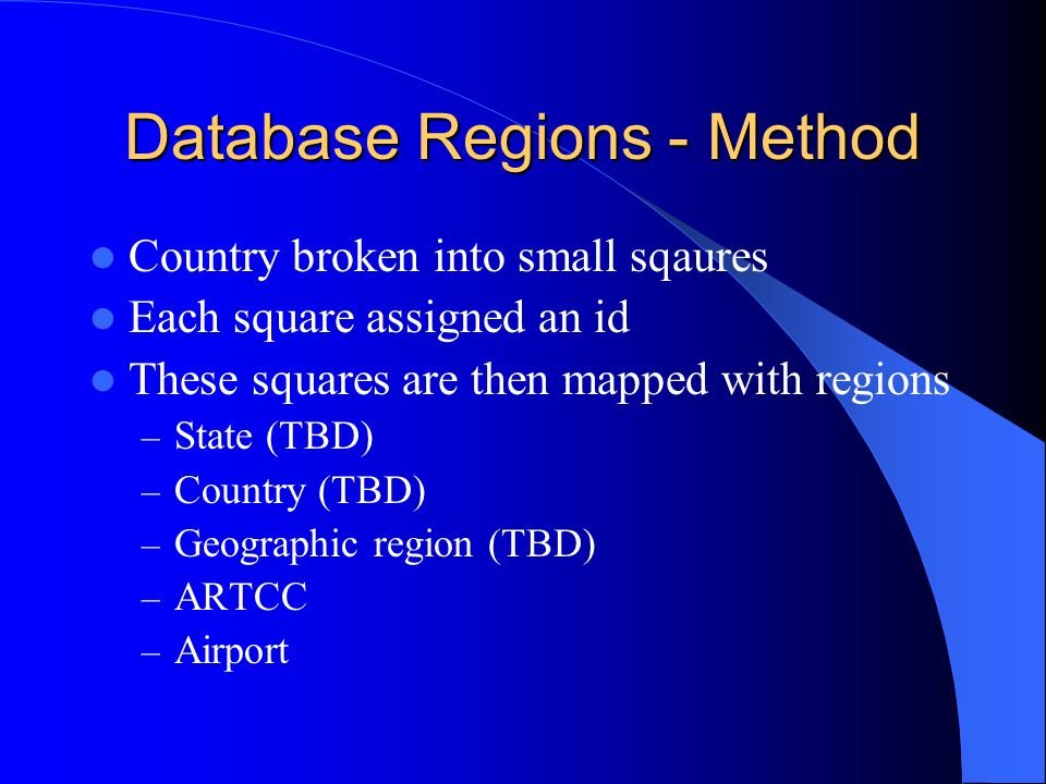 Database Regions - Method Country broken into small sqaures Each square assigned an id These squares are then mapped with regions – State (TBD) – Country (TBD) – Geographic region (TBD) – ARTCC – Airport
