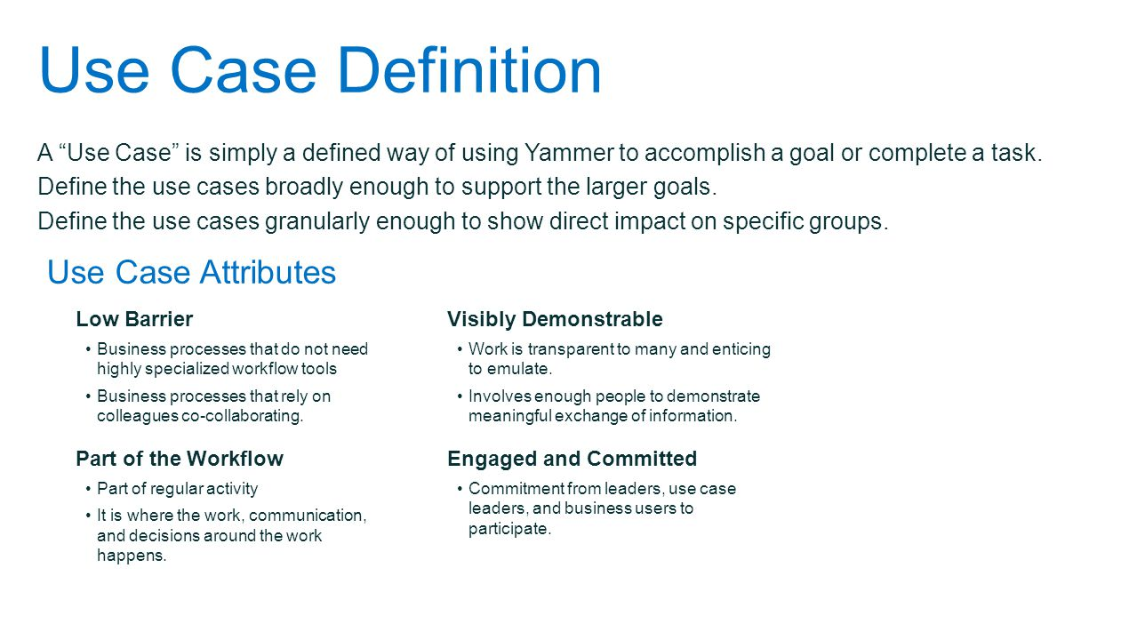 A Use Case is simply a defined way of using Yammer to accomplish a goal or complete a task.