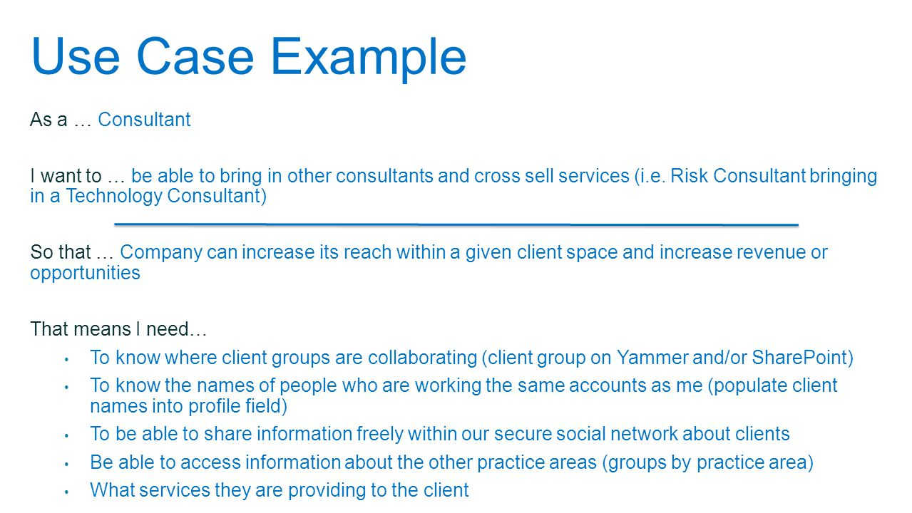 As a … Consultant I want to … be able to bring in other consultants and cross sell services (i.e.