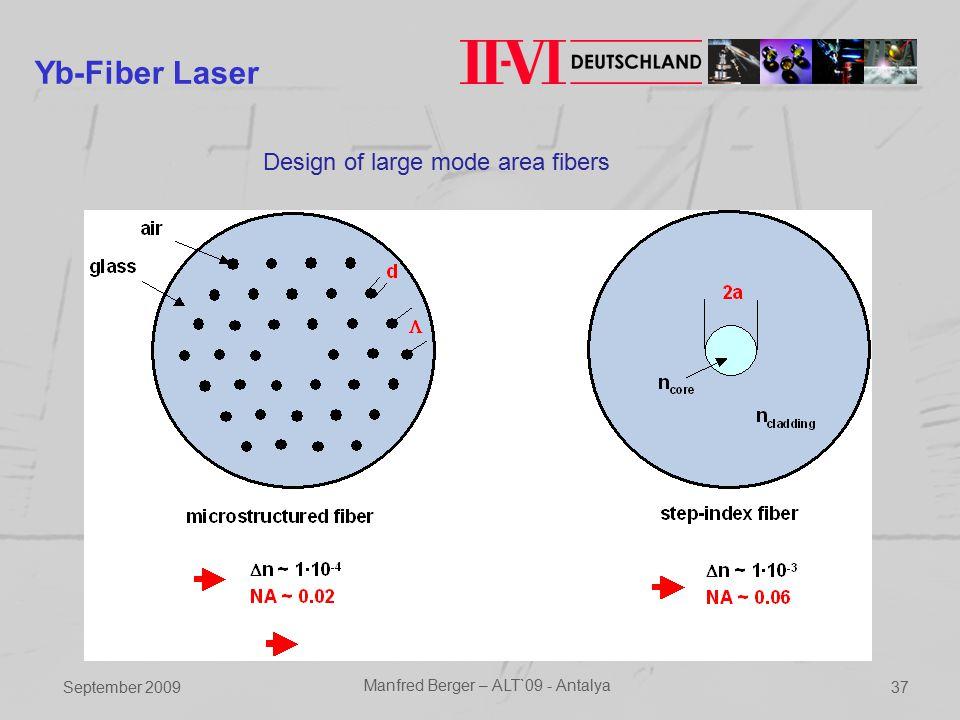 September 2009 Manfred Berger – ALT`09 - Antalya 37 Yb-Fiber Laser Design of large mode area fibers