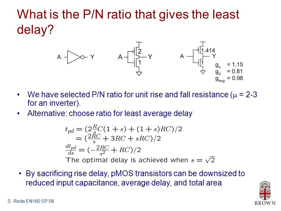 S. Reda EN160 SP'08 What is the P/N ratio that gives the least delay.
