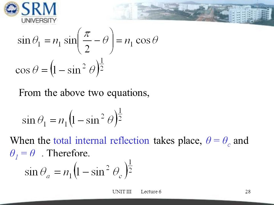 UNIT III Lecture 628 From the above two equations, When the total internal reflection takes place, θ = θ c and θ 1 = θ a.