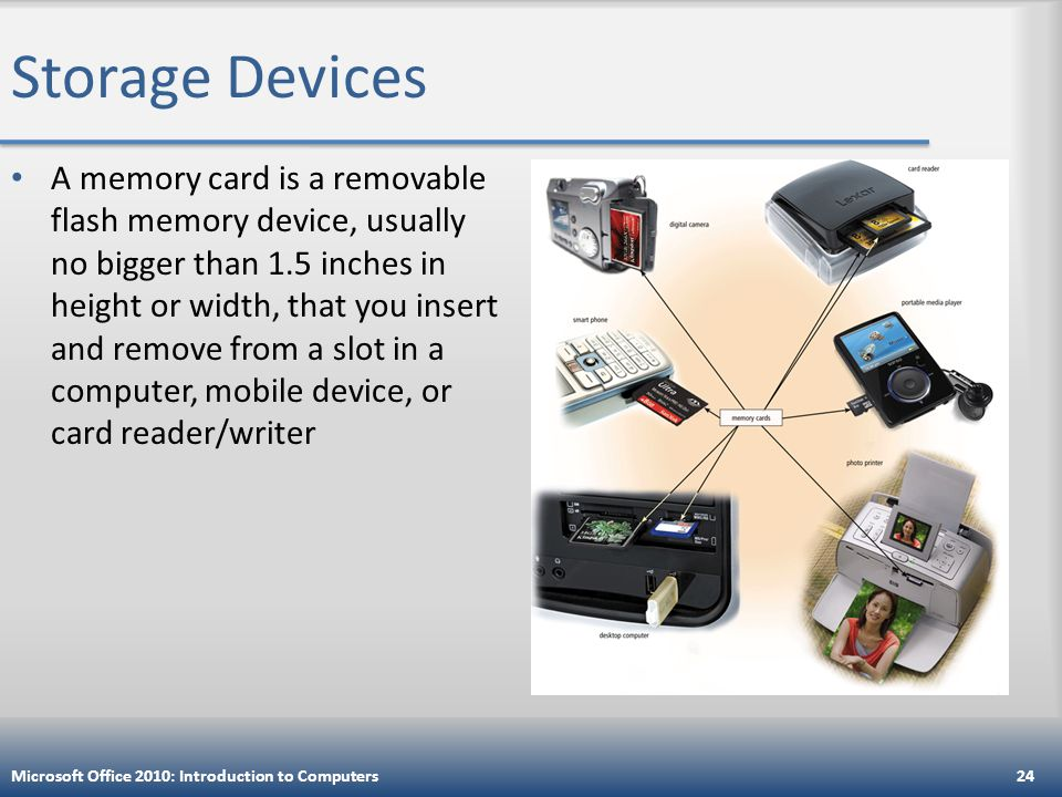 Storage Devices A memory card is a removable flash memory device, usually no bigger than 1.5 inches in height or width, that you insert and remove from a slot in a computer, mobile device, or card reader/writer Microsoft Office 2010: Introduction to Computers24