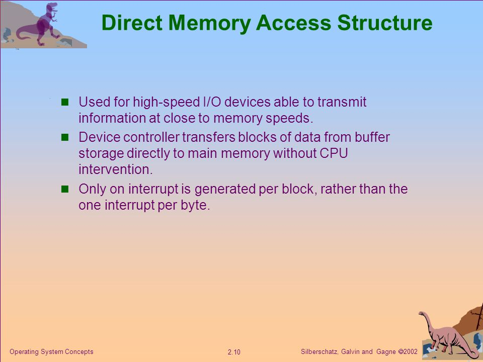 Silberschatz, Galvin and Gagne  Operating System Concepts Direct Memory Access Structure Used for high-speed I/O devices able to transmit information at close to memory speeds.