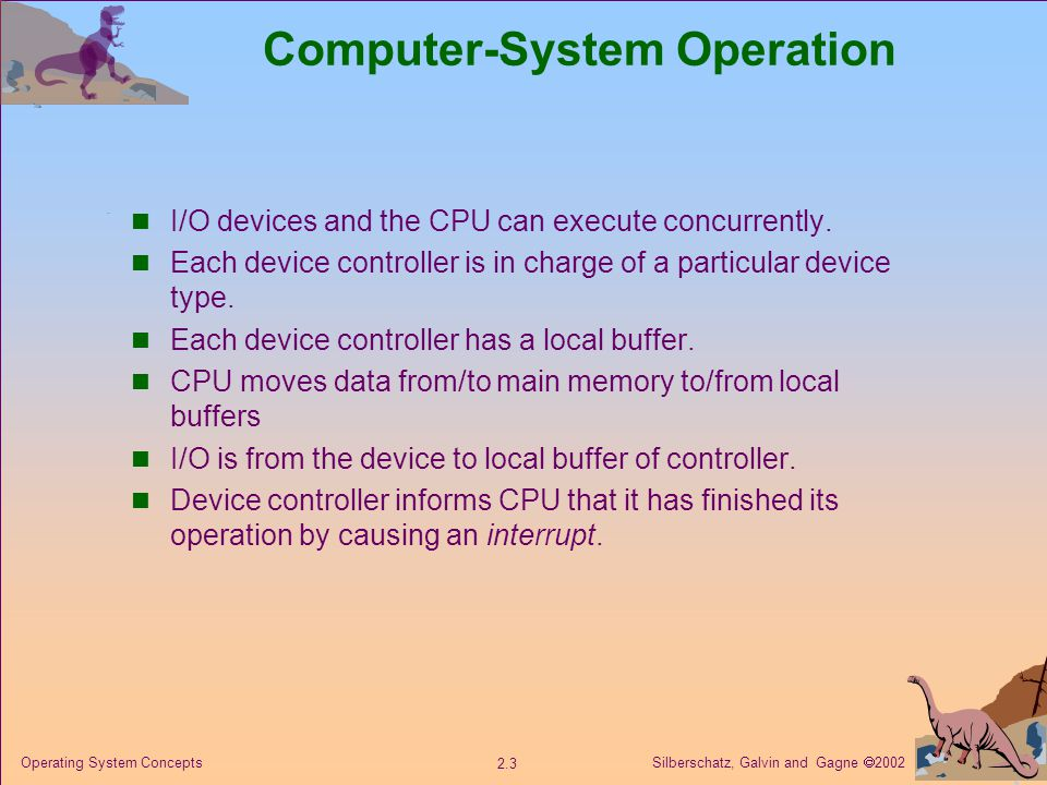 Silberschatz, Galvin and Gagne  Operating System Concepts Computer-System Operation I/O devices and the CPU can execute concurrently.