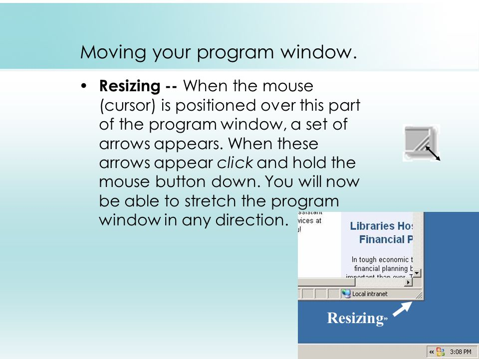 Moving your program window.