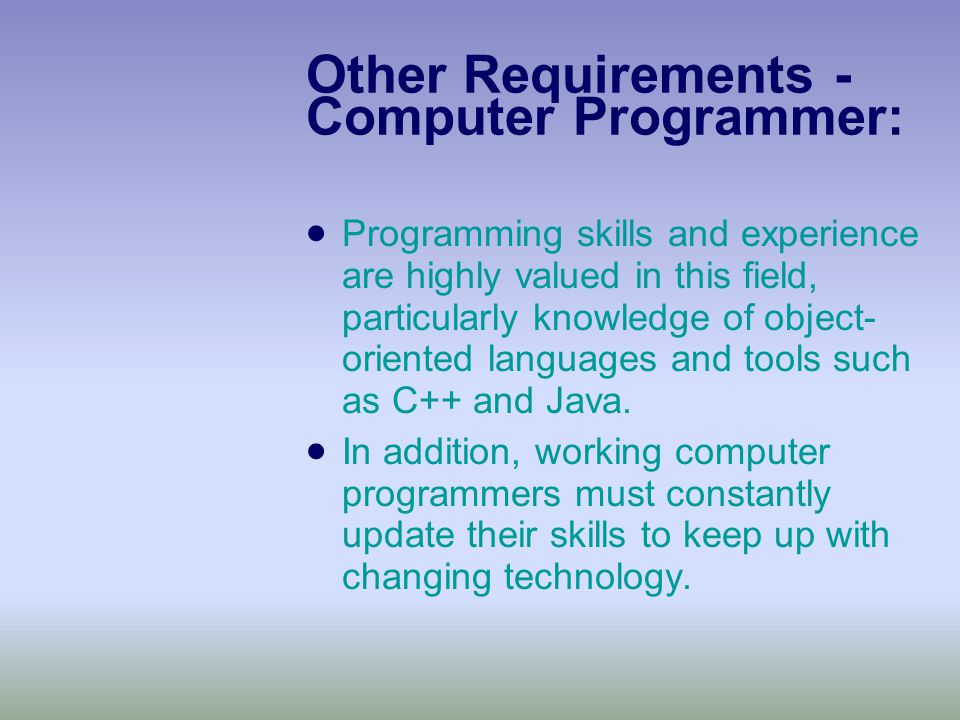 Other Requirements - Computer Programmer:  Programming skills and experience are highly valued in this field, particularly knowledge of object- oriented languages and tools such as C++ and Java.