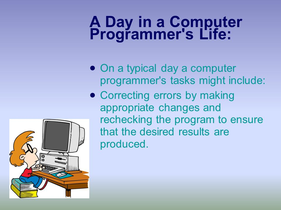 A Day in a Computer Programmer s Life:  On a typical day a computer programmer s tasks might include:  Correcting errors by making appropriate changes and rechecking the program to ensure that the desired results are produced.