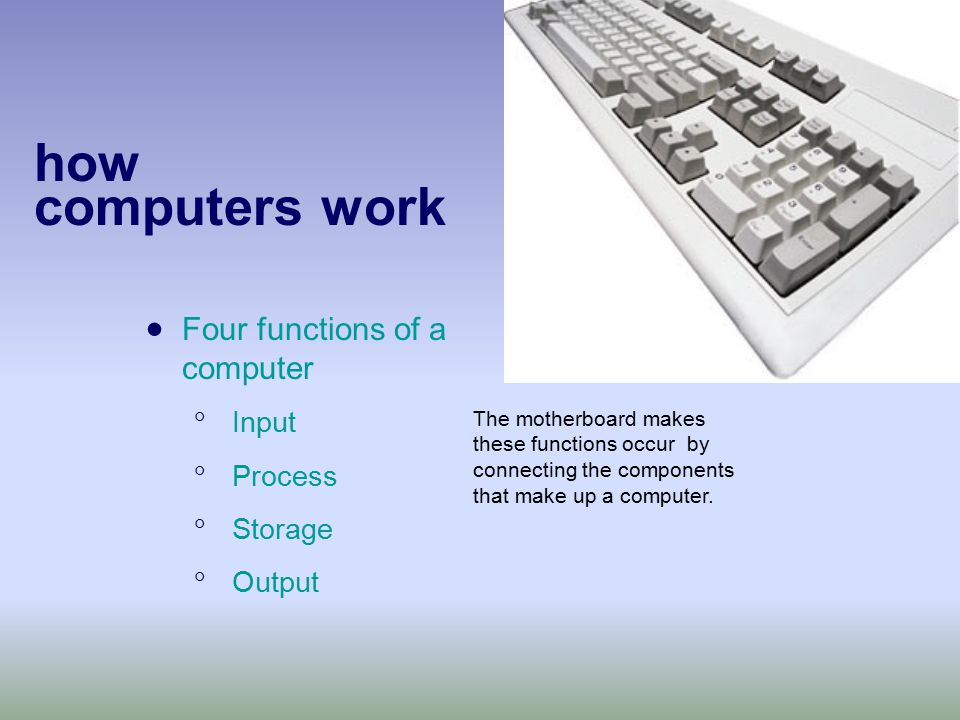 how computers work  Four functions of a computer  Input  Process  Storage  Output The motherboard makes these functions occur by connecting the components that make up a computer.