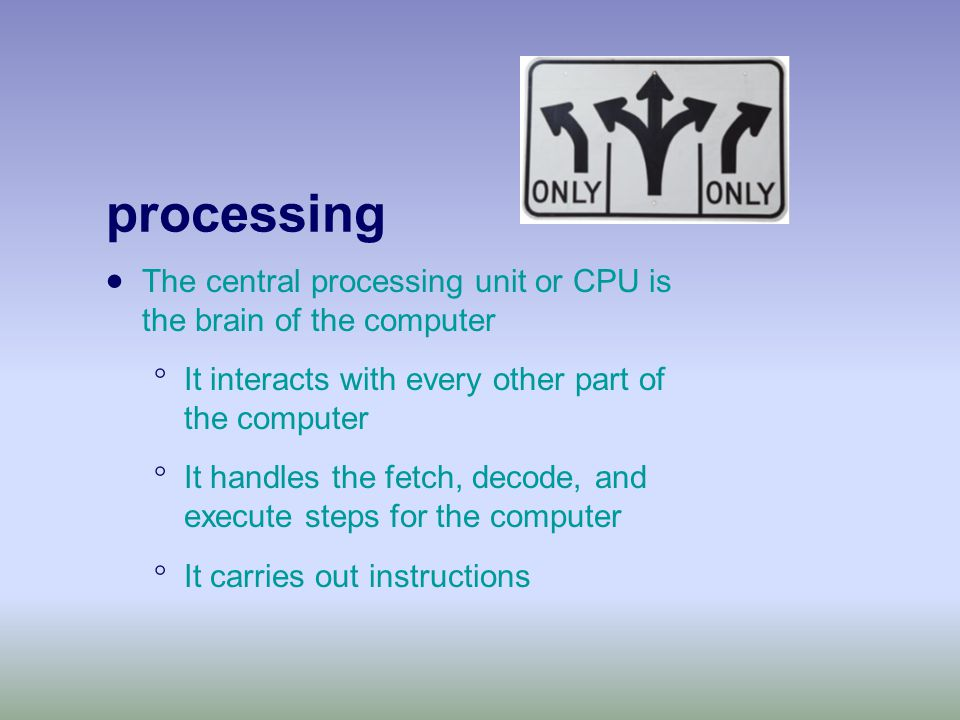processing  The central processing unit or CPU is the brain of the computer  It interacts with every other part of the computer  It handles the fetch, decode, and execute steps for the computer  It carries out instructions