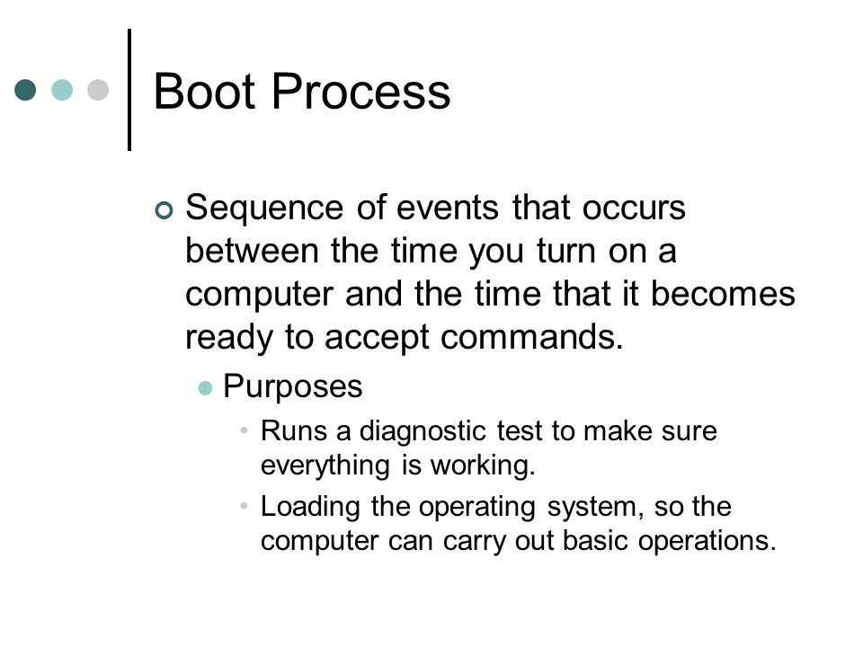 Boot Process Sequence of events that occurs between the time you turn on a computer and the time that it becomes ready to accept commands.