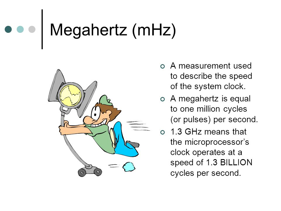 Megahertz (mHz) A measurement used to describe the speed of the system clock.
