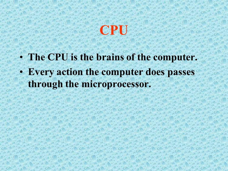 CPU The CPU is the brains of the computer.